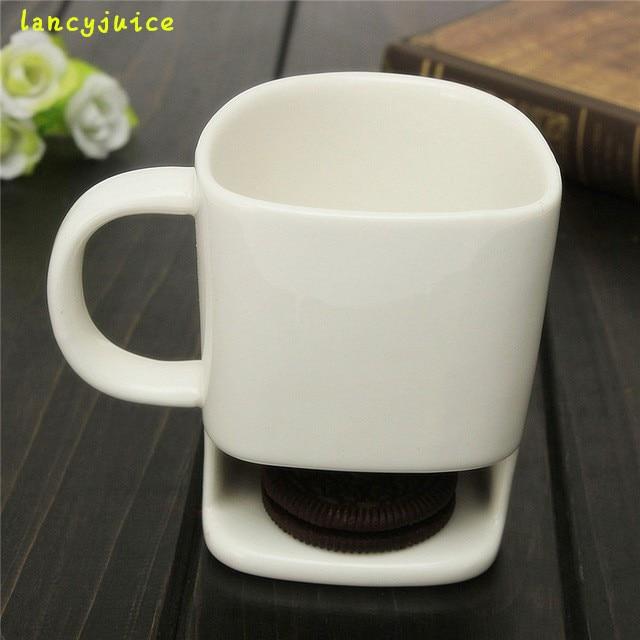 Unique Coffee Mugs Online Part - 18: 250ML Unique Ceramic Mug White Tea Biscuits Milk Dessert Cup Tea Cup Coffee  Mugs Home Office