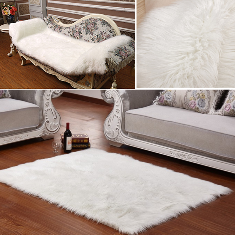 Long Faux Fur Artificial Skin Rectangle Fluffy Chair Seat