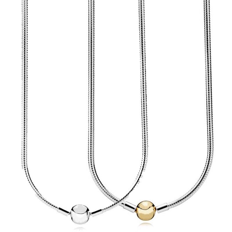 Nouveau 925 collier en argent Sterling Moments homard balle fermoir lisse serpent chaîne collier pour les femmes cadeau de mariage Europe bijoux