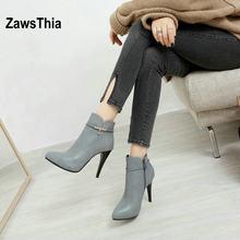 43496dea41 ZawsThia madura sexy mujer tobillo botas de invierno clásico punta toe  bombas zapatos para mujeres super thin tacones altos bota.