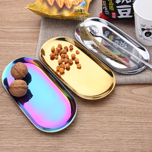 Nordic Rose Gold Metal Storage Tray Oval Colorful Fruit Plate Dish Decoration Jewelry Trinket Display Tray For Home Decor Desser