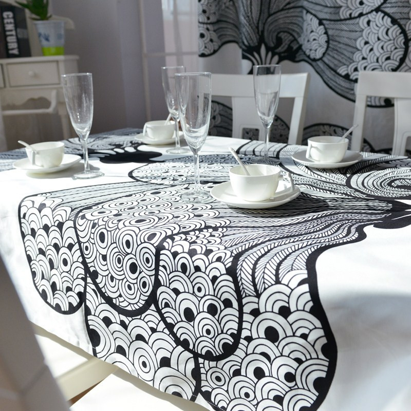 Free Shipping Elegant Bohemian Dining Table Cloth Fashion Black And White Kitchen Cloths Designer Modern Tablecloth Party In Tablecloths From Home