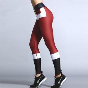 Image 3 - 2019 Hayoha Christmas Printing Leggings Put Hip Elastic High Waist Legging Breathable Merry Christmas Pants