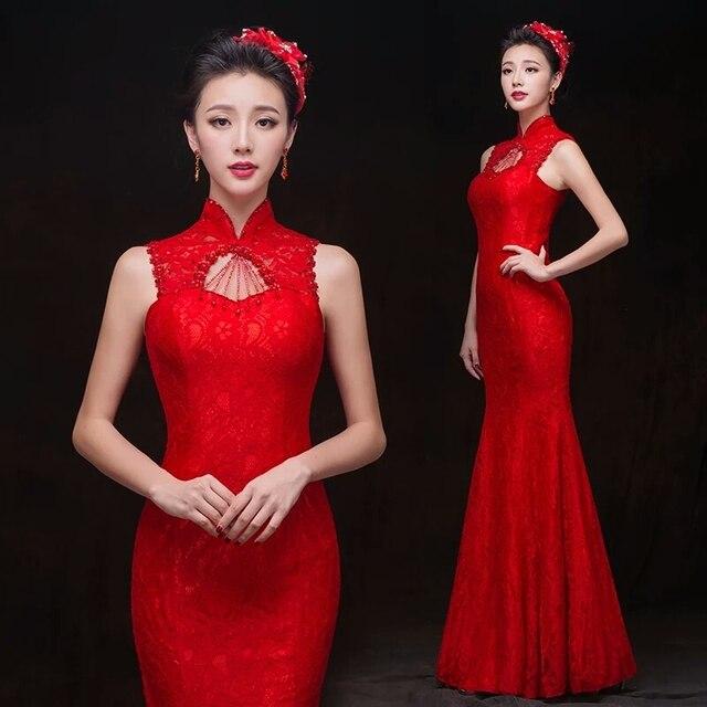 0909b727e Venta caliente 2016 Vestidos de Noche de Encaje Rojo Qipao Largo Cheongsam  Oriental Sexy Vestidos Sin