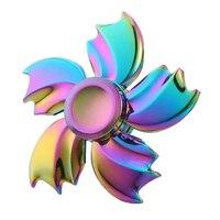 2017 New Arrival Rainbow Flower Star Fidget Spinner Hand Finger Gyro EDC Focus Toy