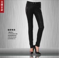 Beckhams The Same Paragraph Women S Brand Spring European American Female Body Matte Zipper Leather Pants