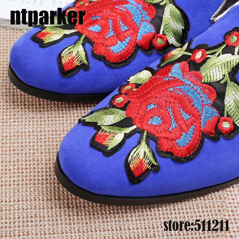 f3fe61fe4 ntparker Big Flowers embroidered Blue leather insole genuine leather  outsole men velvet shoes men loafer men flats Dress Shoes-in Men s Casual  Shoes from ...