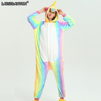 LAISIDANTON Unisex Adult Winter Unicorn Pajamas Animal Pajama Sets Sexy Hooded Homewear Flannel Sleepwear Female Pijama