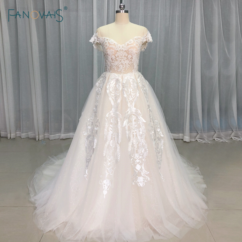 Champagne Lace Wedding Gown: Light Champagne Wedding Dresses Long Off The Shoulder Lace