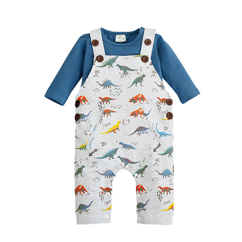 Newborn Dinosaur Baby Costume Boy Clothing Set Bib Pants+ Long Sleeve T-shirts 2pcs Set Cartoon Car Clothes Baby Warm Overalls cotton baby rompers set newborn clothes baby clothing boys girls cartoon jumpsuits long sleeve overalls coveralls autumn winter