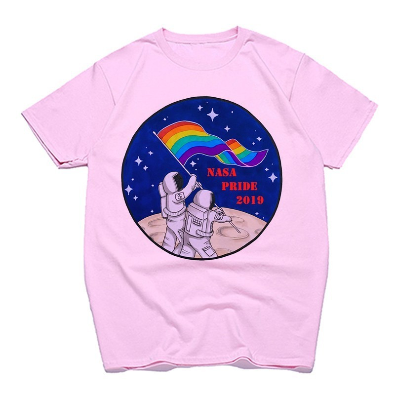 Gay Love Lesbian Rainbow Design Print T-Shirts for Man and Women Summer