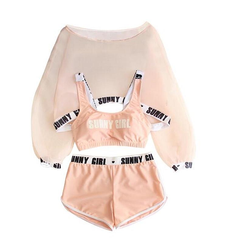 Tankini Set New Ladies Letter Print Swimwear Sexy Slim Cute Girls Four Pieces Bikinis Sets Shorts Swimsuit Bathing Suit Biquinis