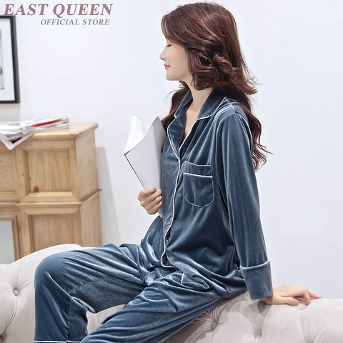 Female sleep & lounge in autumn and spring full sleeve pajama sets turn-down collar sleepwear women home clothes  AA3307  F Islamabad