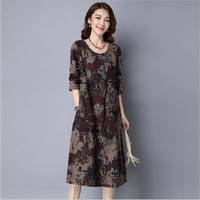 New Arrival 2016 Autumn Dresses Vintage Casual Robe Long Sleeve O Neck Printed Dress Loose Cotton