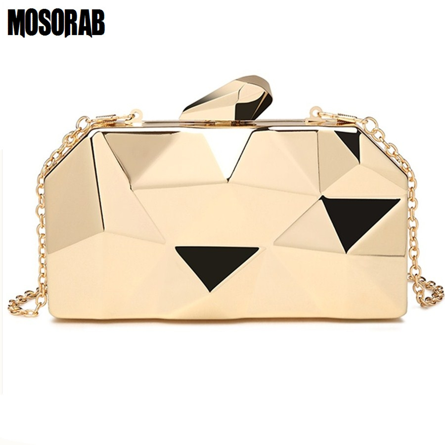MOSORAB Gold Acrylic Box Geometry Clutch Evening Bag Elegent