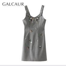 Galcaur刺繍パッチワークチェック柄ドレス女性ノースリーブミニストレート女性の夏のファッション 2020 服