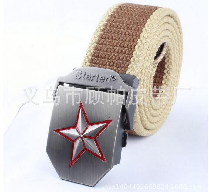 110cm red five-pointed star alloy automatic buckle belt men canvas belt braided belt wild outdoors