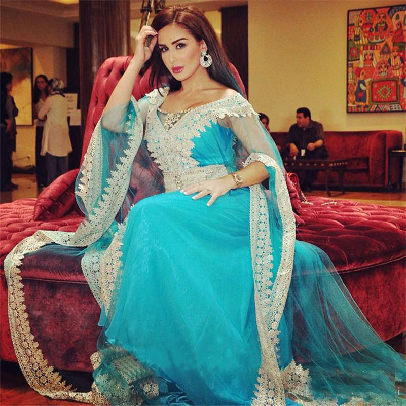 Middle East evening dress custom v neck long sleeve floor length of ...