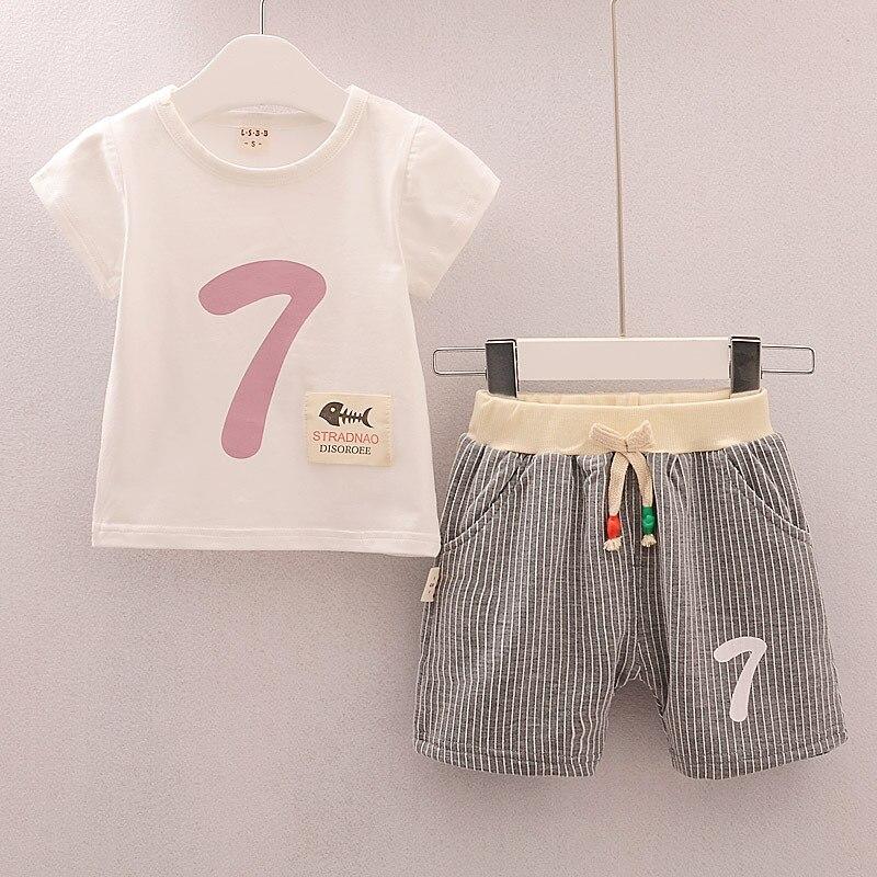 2 шт. Одежда для малышей Наборы для ухода за кожей Обувь для мальчиков летние хлопковые милые цифра для новорожденных одежда для малышей Топ ...
