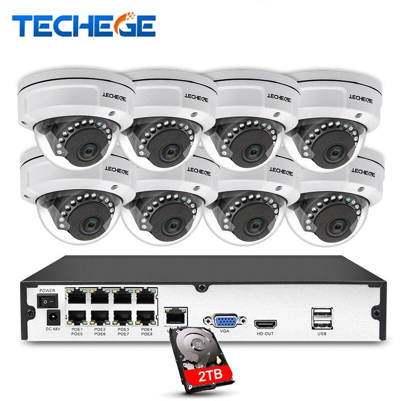 Techege 8CH 1080 p POE NVR Vidéo Caméra de Surveillance Système 2MP HD Réseau IP Caméra Étanche Anti-Vandalisme CCTV NVR Système