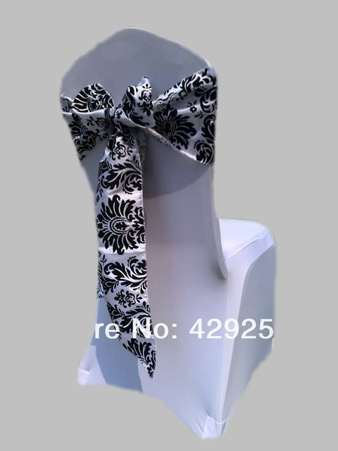 Stupendous Aliexpress Com Buy Free Shipping 100Pcs White And Black Flocking Taffeta Chair Cover Sash Also Call Elegance Damask Corset Chair Sash From Reliable Download Free Architecture Designs Rallybritishbridgeorg