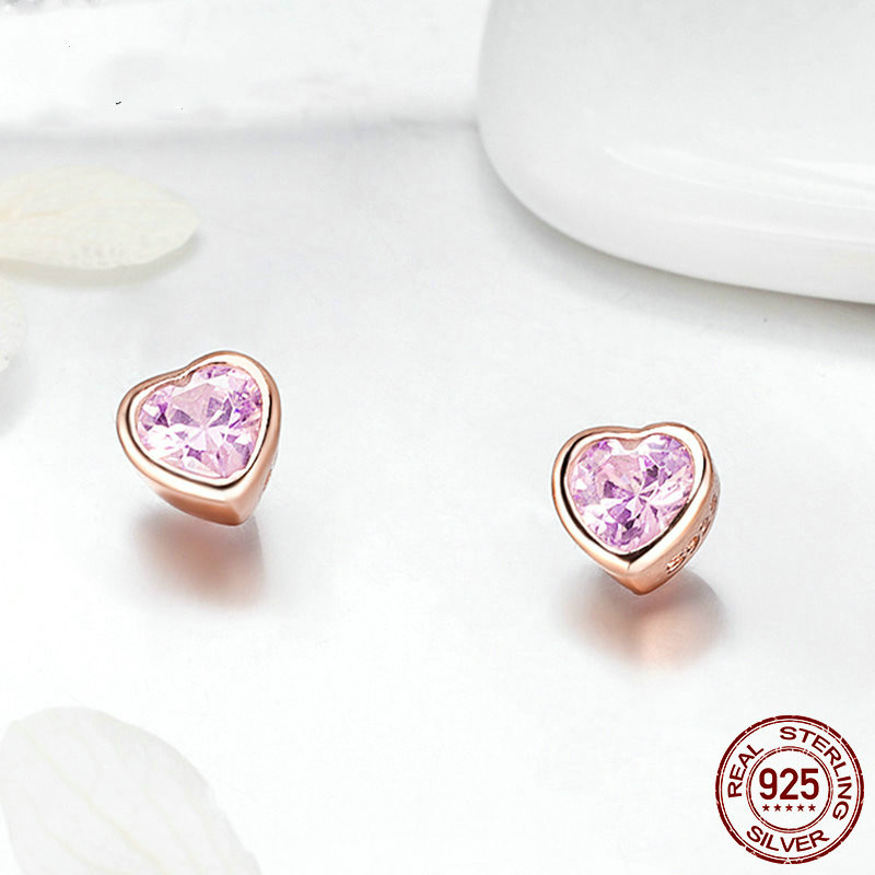 925 Sterling Silver Love Heart Stud Earrings For Children,s925 Silver Clear Cz Female Brincos For Woman Fine Baby Girls Jewelry Invigorating Blood Circulation And Stopping Pains Earrings
