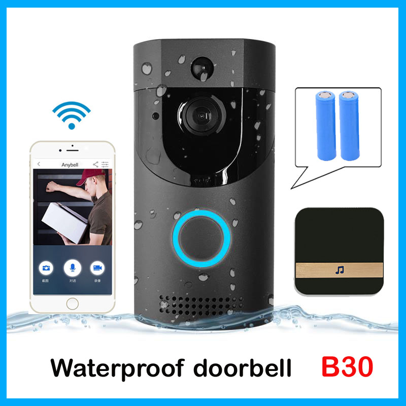 Anytek B30 WIFI Doorbell B30 IP65 waterproof Smart video Door chime 720P wireless intercom FIR Alarm IR night vision IP camera armband for iphone 6