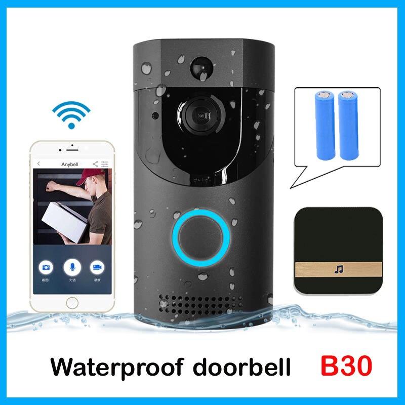Anytek b30 wi fi campainha b30 ip65 à prova dsmart água inteligente campainha da porta de vídeo 720 p sem fio interfone abeto alarme visão noturna ir ip câmera