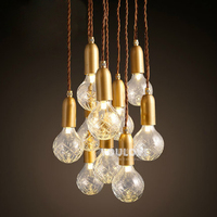 Nordic Modern Glass Crystal Bulbs Droplights European Bulb Lamps Pendant Lights Fixture Home Indoor Lighting Cafes Pub Lights