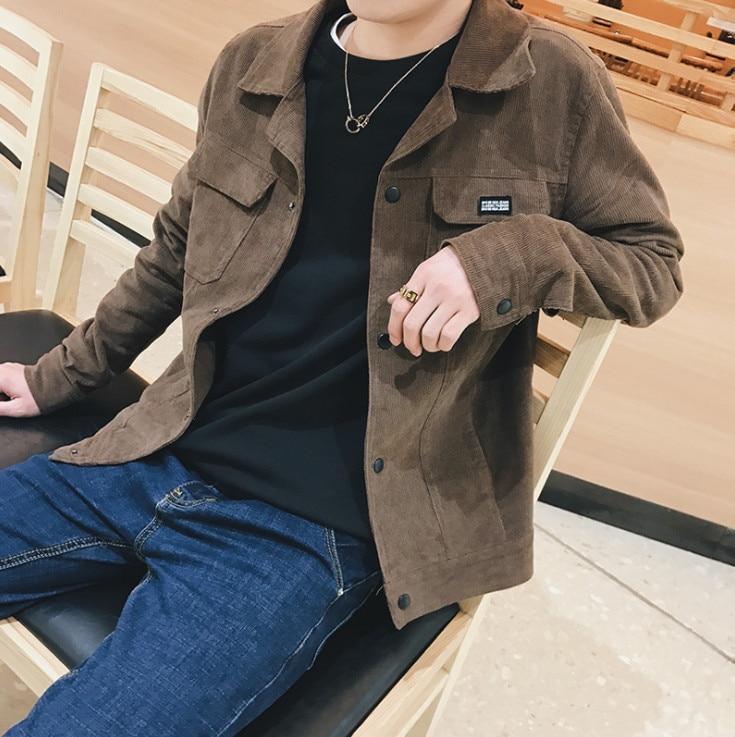 Spring New Corduroy Men's Jacket Retro Slim Jacket Youth Solid Color Jacket Outwear Men Coat