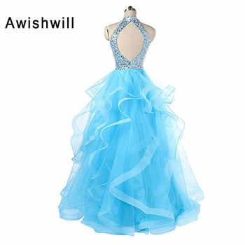 Vestidos de Fiesta Largos Elegantes de Gala 2020 Open Back Beadings A-line Floor Length Long Prom Dresses for Women Party Gowns