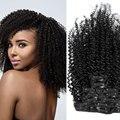 Brasileiro Cabelo Virgem Afro Kinky Curly Cabelo Sites Tecer Cabeça Cheia Grampo em Extensões Do Cabelo Humano Para As Mulheres Negras Atacado
