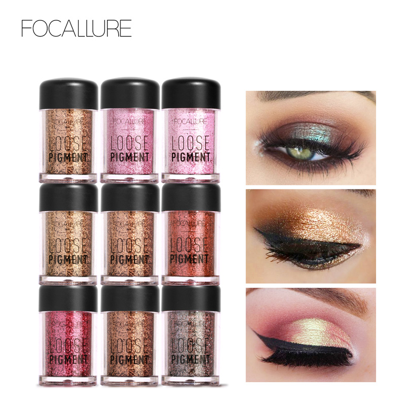 FOCALLURE 18 Colors Glitter Eye Shadow Cosmetic Makeup Diamond Lips Loose