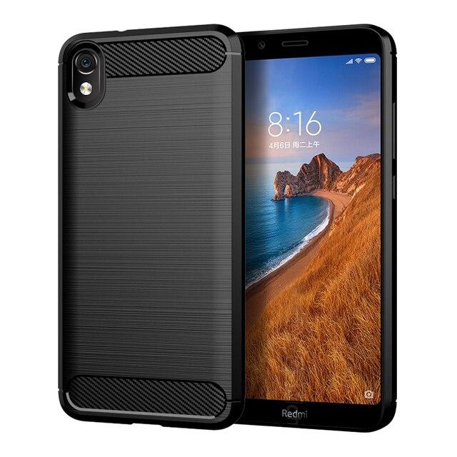 "For Xiaomi Redmi 7A Case Shockproof Brushed Carbon Fiber Soft Bumper Case Cover for Xiaomi Xiomi Redmi 7A 2019 5.45"" Phone Cases"