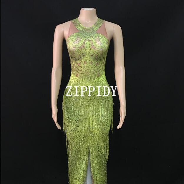 Franges vertes pierres Slim longue robe une pièce gland chanteur danseur tenue porter Bar spectacle soirée anniversaire célébrer robe