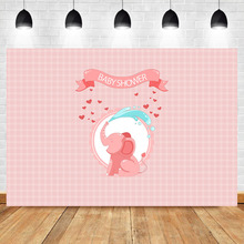 NeoBack Cute Little Elephant Backdrop Pink Baby Shower Party Background Photography Dessert Table Decorations Props