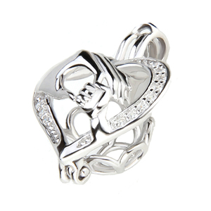 Image 3 - CLUCI 3pcs Silver 925 Hand by Hand Shaped Pearl Locket 925 Sterling Silver Cage Locket Pendant Women Gift for Friend SC084SB