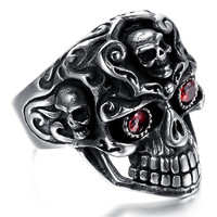 Mens Stainless Steel Ring, Vintage, Red Crystal, Skull KR1950