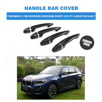 Carbon Fiber Auto Side Door Handle Bar Catch Covers Trims For BMW X1 F48 XDrive20i XDrive28i