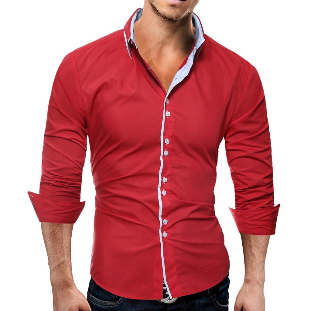Brand 17 Fashion Male Shirt Long-Sleeves Tops Casual Solid Multi-Button Mens Dress Shirts Slim Men Shirt 3XL ASDF 5