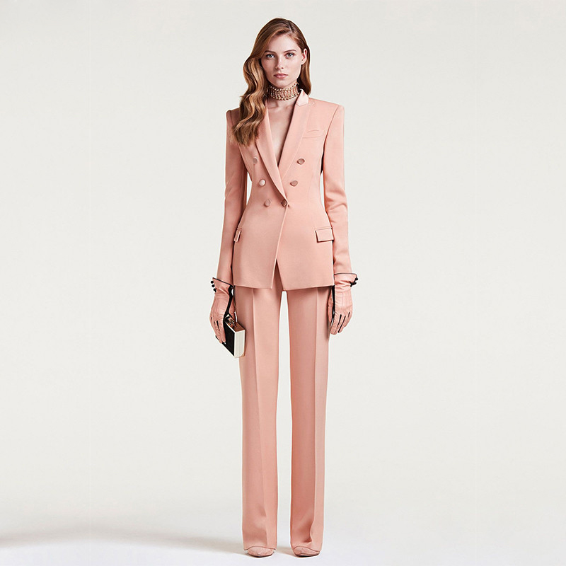 Jacket+Pants Womens Business Suit Female Office Uniform Ladies Formal Trouser Suit Double Breasted Womens Tuxedo Custom