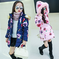 Children's thickening wadded jacket outerwear baby girls medium-long floral print cotton-padded jacket girls winter coats