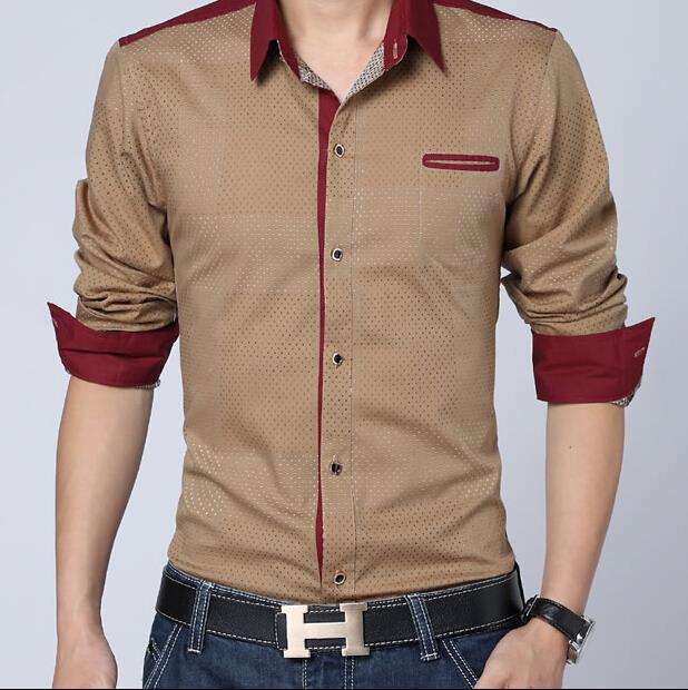 Men shirt long sleeve 2015 spring new brand mens casual for Top dress shirt brands