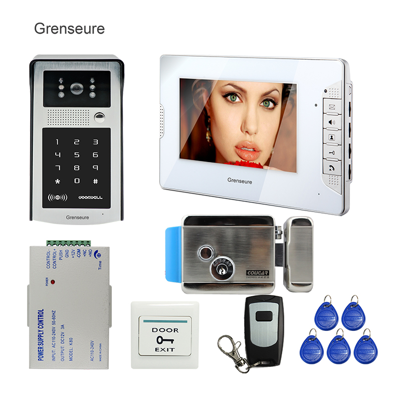 FREE SHIPPING New 7 Color Screen Video Door Phone Intercom System + Waterproof RFID Code Keypad Camera + Remote + Electric Lock free shipping 7 lcd video door phone intercom system 2 screens rfid access code keypad password camera electric control lock