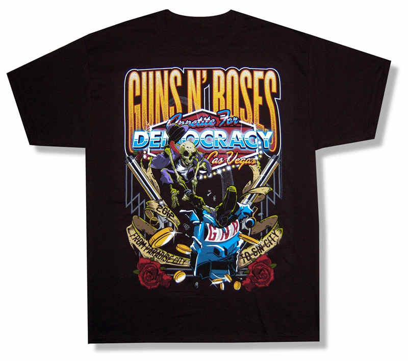 T Shirt Great Quality Funny Cotton MenS Guns N Roses Appetite For Democracy Short Sleeve Casual Crew Neck Tee Shirts