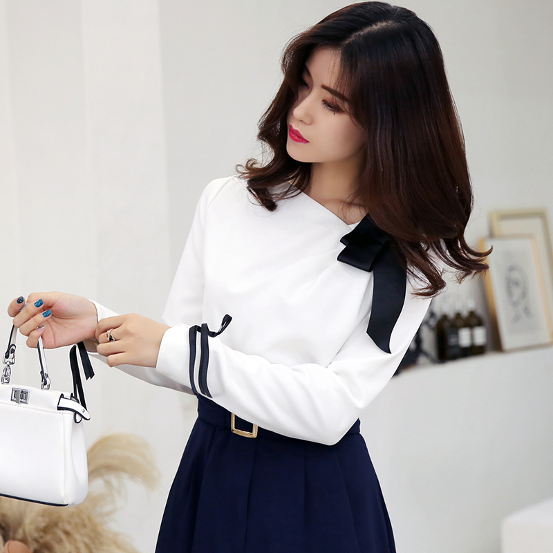 WHITNEY WANG 2018 Autumn Fashion Elegant Colors Contrast Bow Skew Collar Blouse Women blusas Office Lady Shirt Tops WW-1776