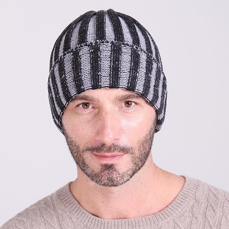 New 2019 vertical stripe woolen hats Men Warm autumn winter knit caps hat  Men s Knitted Skullies Beanies Cap-in Skullies   Beanies from Apparel  Accessories ... 8883d5b2435b