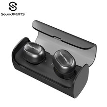SoundPEATS TWS Bluetooth Wireless Earbuds Mini Invisible HiFi Stereo Wireless Headset Earphone for Iphone Built Mic Charging Box(China)