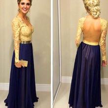 2016 langen Ärmeln Formale Abendkleider Sheer Zurück A Linie Bodenlangen Elegante Chiffon Abendkleid Vestido De Festa Kostenloser verschiffen
