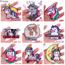 Prajna GIZMO Gremlin Patch Iron On Embroidered Patches For Clothes Stripes Unicorn Camping Badge Applique Clothing Sticker